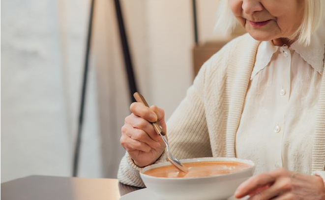 Picture of elderly eating