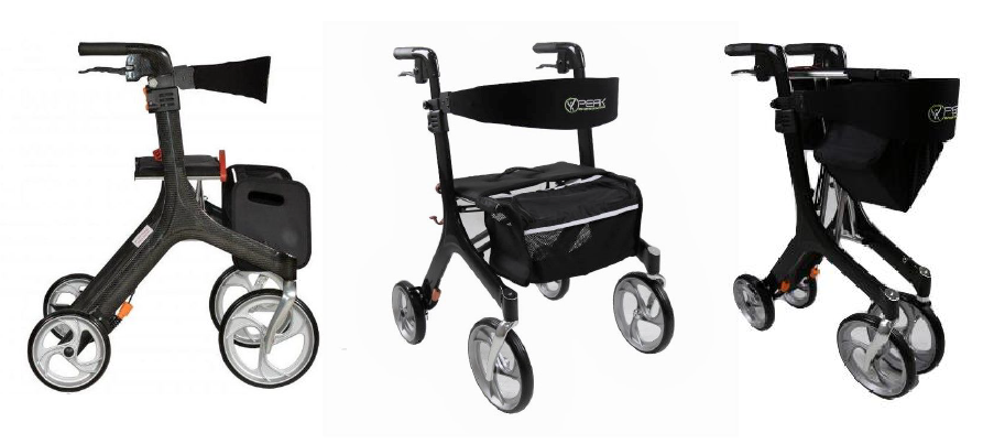 Peak Ellipse Carbon Fibre rollator folded